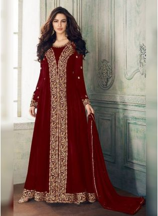 Maroon Georgette Base Heavy Embroidery And Stone Work Salwar Kameez