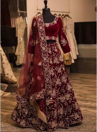Dark Maroon Color Wedding Wear Designer Heavy Embroidery Work Lehenga Choli