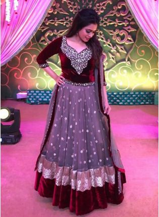 Geay Color Stylish Net Base Heavy Embroidery Work Designer Anarkali Suit