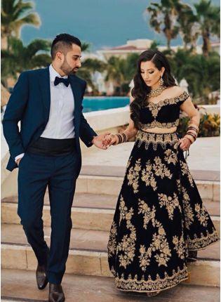 Black Color Designer Wedding Wear Velvet Base Lehenga Choli
