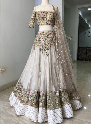 Wedding Wear White Color Net Base Designer Lehenga Choli