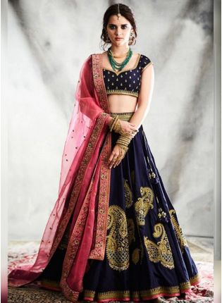 Dark Navy Blue Heavy Embroidery Work Stylish Lehenga Choli