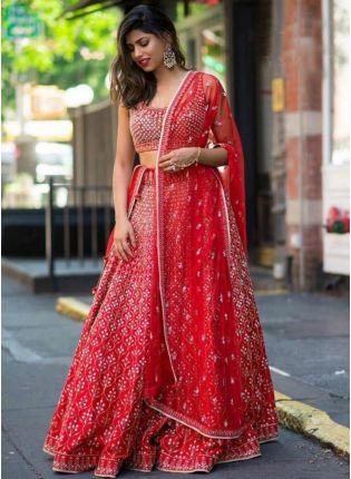 Fabulous Red Color Stylish Embroidered Lehenga Choli