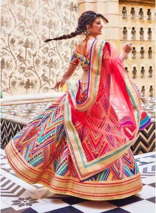 Multi Color Designer Benglori Silk Base Printed Lehenga Choli