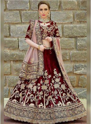 Maroon Velvet Heavy Embroidery Work Bridal Lehenga Choli