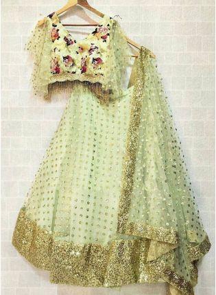 Mint Green Color Designer Wedding Wear Lehenga Choli