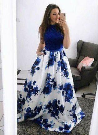 Blue And White Designer Floral Printed Lehenga Choli
