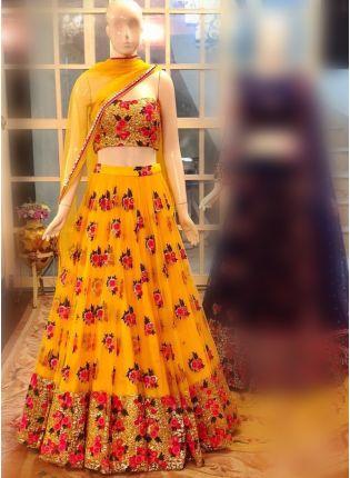 Yellow Color Designer Net Base Party Wear Lehenga Choli