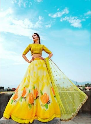Lemon Yellow Color Party Wear Designer Digital Printed Lehenga Choli