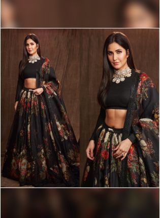 Black Color Party Wear Designer Organza Base Lehenga Choli