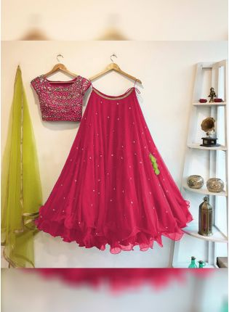 Rani Pink Color Flared Party Wear Lehenga Choli