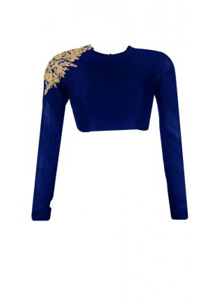 Long Sleeve Navy Blue Color Stitched Blouse