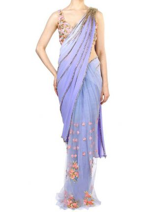 Sky Blue Color Party Wear Designer Saree