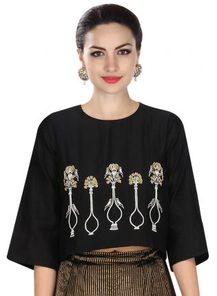 Black Potted Plant Motifs Top