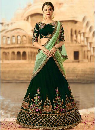 Green Resham Dori Velvet Flared Lehenga Choli