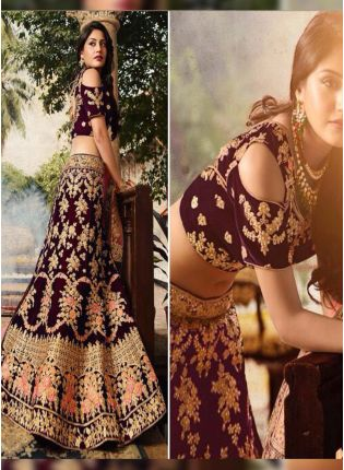 Purple Zari Dori And Velvet Ceremonial A-Line Lehenga Choli