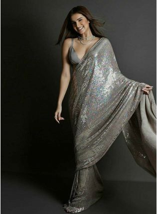 Grey Color Party Wear Georgette Base Designer Sequins Work Saree