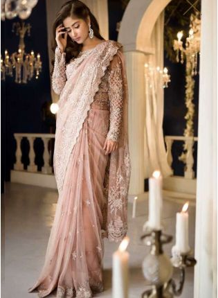 Elegant Peach Color  Party Wear Designer Net Base Saree