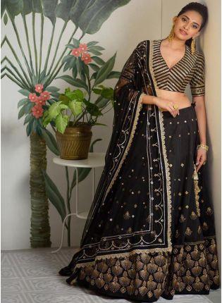 Black Color Designer Party Wear Satin Silk Base Lehenga Choli