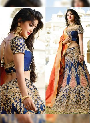 Blue Resham Bangalori Silk A-Line Lehenga Choli