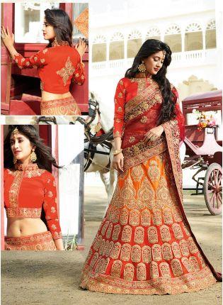 Red Handwork Zari A-Line Lehenga Choli For Bride