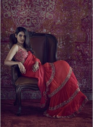 Noteworthy Cherry Red Embroidered Ruffle Saree With Diamond Handwork