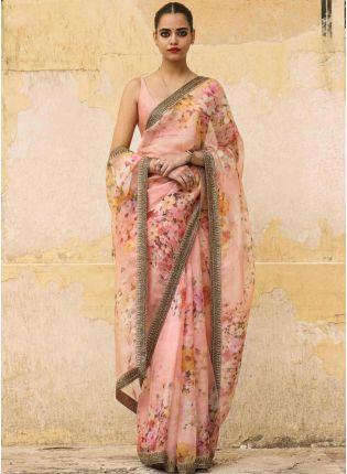 Mesmerizing Peach Pink Silk Base Digital Print Festive Wear Saree