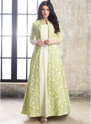 Fabulous Light Green And White Georgette Base Jacket Style Salwar Suit