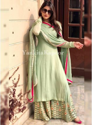 Pistachio Color Party Wear Designer Georgette Base Palazzo Suit