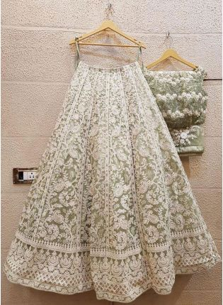Mint Green Color Party Wear Georgette Base Designer Lehenga Choli
