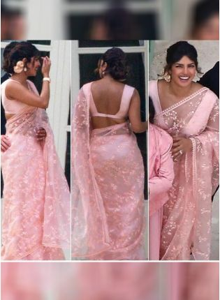 Baby Pink Color Organza Base Party Wear Saree