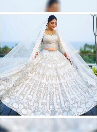 Newest White Color Georgette Base Designer Lehenga Choli