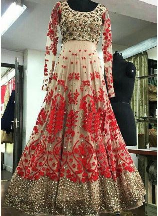 Cream Color Wedding Wear Heavy Embroidery Work Designer Gown