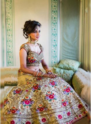 Beige Color Wedding Wear Heavy Embroidered Lehenga Choli