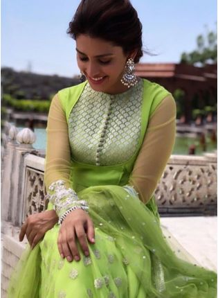 Parrot Green Color Party Wear Designer Georgette Base Anarkali Suit