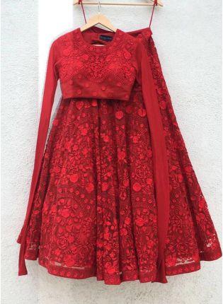 Designer Red Color Party Wear Lakhnavi Embroidery Work Lehenga Choli