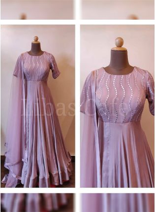 Delightful Purple Color Georgette Base Foil Mirror Work Gown