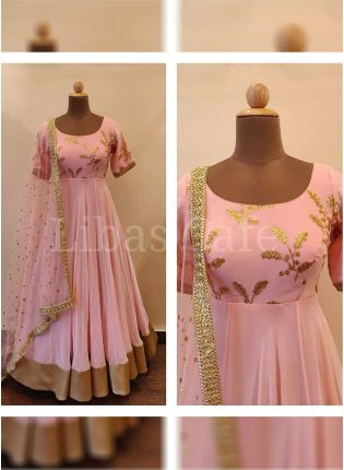 Remarkable Baby Pink Color Georgette Embroidered Gown