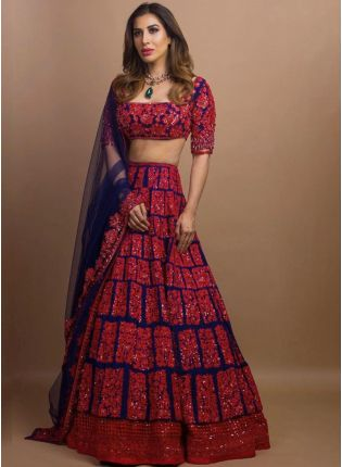Delightful Red And Blue Color Georgette Base Red And Blue Color Lehenga Choli