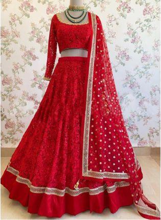 Stylish Red Color Georgette Base Heavy Embroidered Lehenga Choli