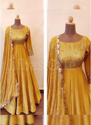 Mustard Yellow Color Satin Silk Base Designer Anarkali Suit