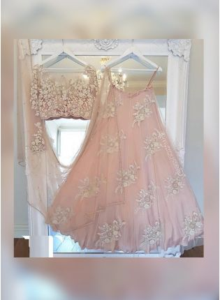Blush Pink Color Party Wear Designer Soft Net Base Lehenga Choli