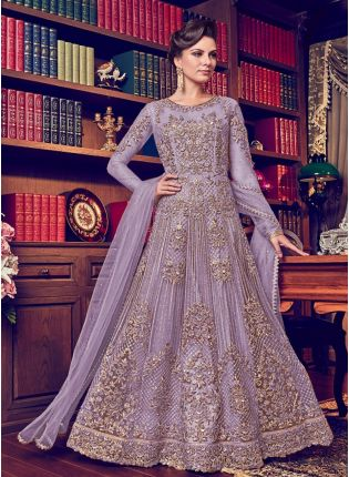 Light Purple Color Designer Heavy Net Base Salwar Kameeez Suit