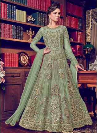 Pista Green Color Designer Heavy Net Base Salwar Kameeez Suit