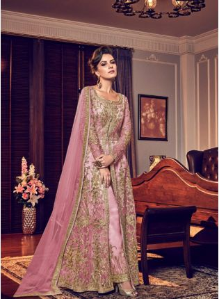 Baby Pink Color Party Wear Designer Wedding Wear Slit Cut Anarkali Suit