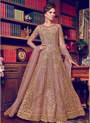 Peach Color Designer Heavy Net Base Salwar Kameeez Suit