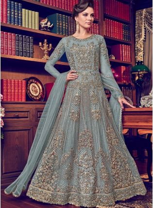 Sky Blue Color Designer Heavy Net Base Salwar Kameeez Suit