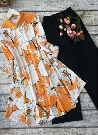 Designer Mustard Yellow Printed Crepe Silk Base Pant Style Suit