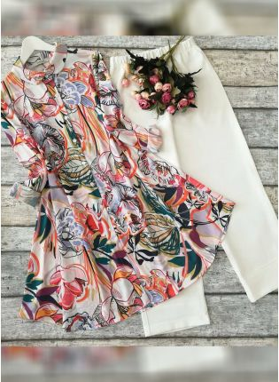 Designer Multi Color Printed Crep Silk Base Top Pant Suit