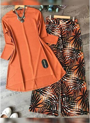 Buy This Designer Orange Color Crep Silk Base Top With Pant Suit